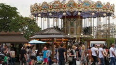 Souvenir stalls next to the Trocadero Carousel, near Eiffel Tower, Paris Stock Footage