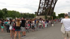 The queue to go up the Eiffel Tower, Paris Stock Footage