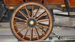 The wheel of the horse carriage in Paris Stock Footage