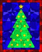 Christmas tree quilt - stock illustration