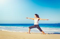 Beach Yoga, Healthy Lifestyle - stock photo