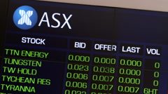 The Australian Stock Exchange price board showing share prices. Stock Footage