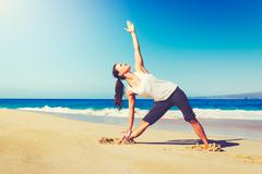 Beach Yoga, Healthy Lifestyle - stock photo