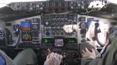 Air Refueling Wing pilot inside KC-135 Stratotanker Stock Footage