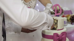 Wedding cake cut bride and groom - stock footage