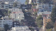Long shot of Lombard Street in San Francisco, California Stock Footage