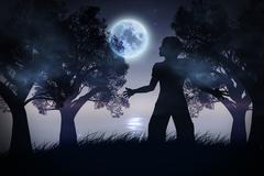 Lonely Night Landscape - stock illustration