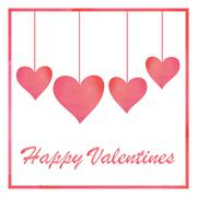 Pink pastel watercolor style of Valentines card. Hanging heart for Valentine. - stock illustration