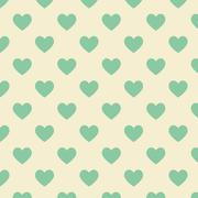 Stock Illustration of Seamless polka dot yellow pattern with green heart