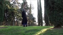 Confused Old Woman Lost In City Park - stock footage