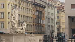 Statue of god Poseidon in Piazza della Borsa, Trieste Stock Footage