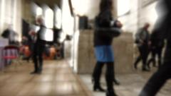 End of conférence - anonymous people, businessmen leaving room - time lapse Stock Footage