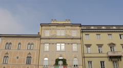 "Beautiful building with wreath and a ""Viva Trieste Italiana"" banner in Trieste Stock Footage"