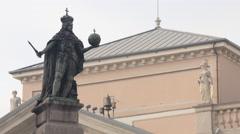 Statue of the Habsburg Emperor Leopold I in Piazza della Borsa, Trieste Stock Footage