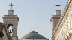 View of the bell towers and the dome of Sant'Antonio Nuovo in Trieste - stock footage