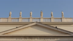 Statues of saints on Sant'Antonio Nuovo church in Trieste - stock footage