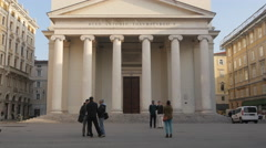 People standing in front of Sant' Antonio Nuovo church in Trieste - stock footage