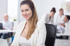 Maternity and work in corporation - stock photo