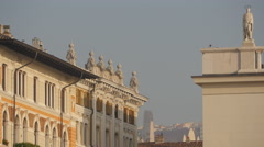 Sculptures on top of a building near Sant'Antonio Nuovo church in Trieste Stock Footage