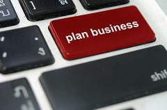 Keyboard button plan business Stock Photos
