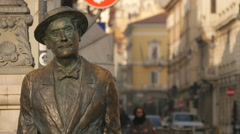 Close view of the bronze statue of James Joyce in Trieste Stock Footage