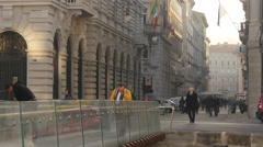 People walking on Ponte Curto and Via Trento in  Trieste Stock Footage