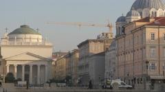 Saint' Antonio Nuovo Church and Saint Spiridone Taumaturgo church in Trieste Stock Footage