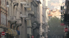 View of Levi's and Mash stores on a street in Trieste Stock Footage