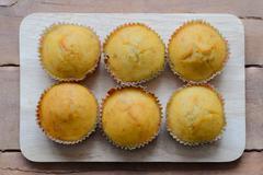 Banana cup cake sweet dessert bakery. Stock Photos
