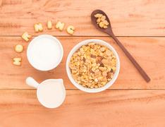 Set a healthy breakfast Arrange to have your health benefits every morning on - stock photo