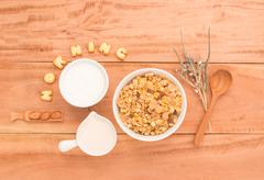 Set a healthy breakfast Arrange to have your health benefits every morning on Stock Photos