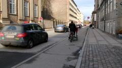 Light traffic in central Copenhagen on a sunday Stock Footage