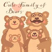 Cute card with a family of brown bears. Dad hugs mother and children Stock Illustration