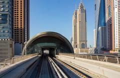 Stock Photo of metro subway tracks in the united arab emirates