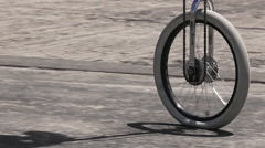 Unicycle street performance Stock Footage