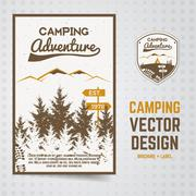 Camping adventure vector brochure and label The concept of flyer for your - stock illustration