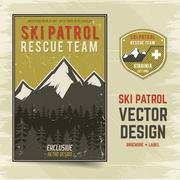 Ski patrol vector brochure and label. The camp concept of flyer for your Stock Illustration