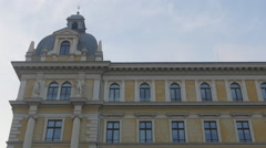 View of statues on Postal and Telegraphic Museum of Central Europe in Trieste Stock Footage