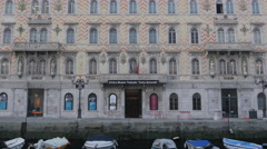Tilt view of Civico Museo Teatrale Carlo Schmidl in Trieste Stock Footage
