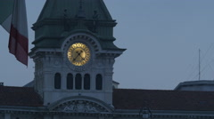 Beautiful view of the clock tower of Comune di Trieste in Trieste Stock Footage