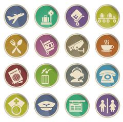 Airport icons Stock Illustration