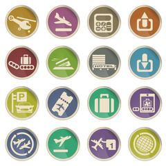 Airport icons - stock illustration
