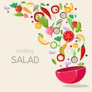 Cooking Salad. Vector Illustration - stock illustration