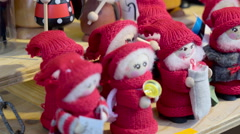 Little Christmas elves stuffed toys Stock Footage