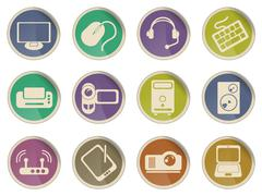 Computer equipment icons Stock Illustration