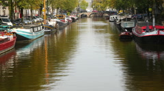 Scenic Boats & Canals of Amsterdam Netherlands Stock Footage