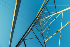 High voltage electricity pylon with wires, low wide angle view Stock Photos