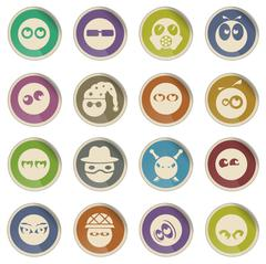 Emotions and glances icons - stock illustration