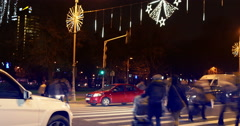 BUCHAREST - ROMANIA, December 2015, Night traffic  with car pass, Christmas Stock Footage