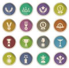 Medals and tropheys simply icons Stock Illustration